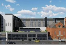 Rendering of the $30 million hotel and the Bethel African Methodist Episcopal Church (CSO Architects)
